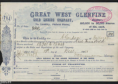 Share Scrip - Mining. 1901 Great West Glenfine Gold Mining Co - Pitfield Plains