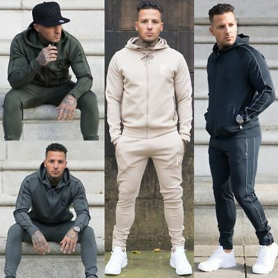 BBH Mens Full Tracksuit set Polyester Zip Hooded Top Slim fit Jogging Bottoms