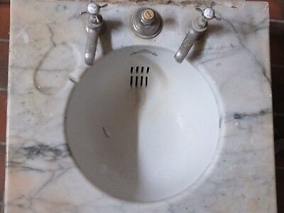 Stunning reclaimed antique basin sink marble surround and cast iron supports