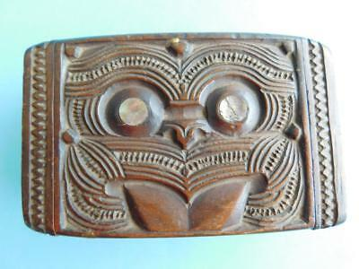Superb Vintage New Zealand Carved Maori trinket Box Polynesian Oceanic Art 1950s