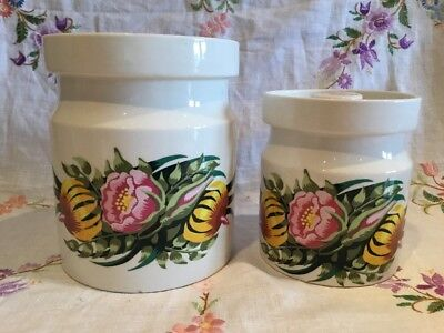 *PAIR OF VINTAGE 1960's PORTMEIRION RARE 'TIGER LILY' STORAGE JARS*