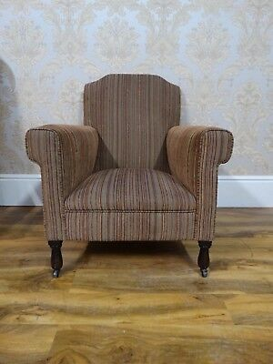 Super shaped antique early 20thC edwardian howard style library reading armchair