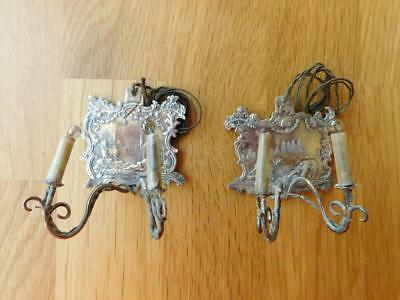Solid Silver Miniature Dolls House wall Sconce Lamps Electrified c1900s