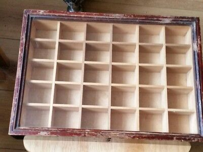 Display Cabinet Collectors Old Wood Case 14 by 10 by 2 inch..30 compartments