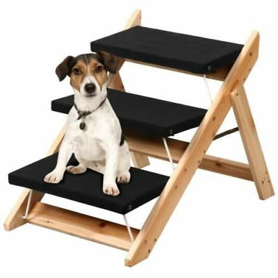 Portable Wooden 2-in-1 Pet Folding Dog Cat 3 Ramp Steps Stairs Ladder Travel