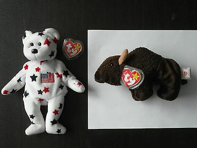 Ty Beanie Babies: Roam the Bison (1996) and Glory the American Bear (1997)