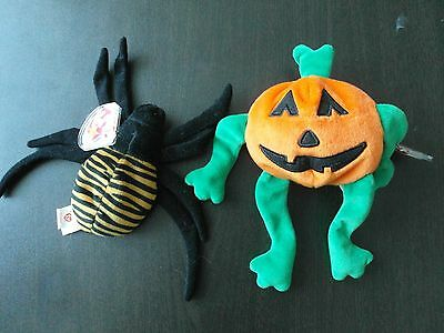 Ty Beanie Babies: Pumkin the Jack-o-Lantern (1998) and Spinner the Spider (1996)