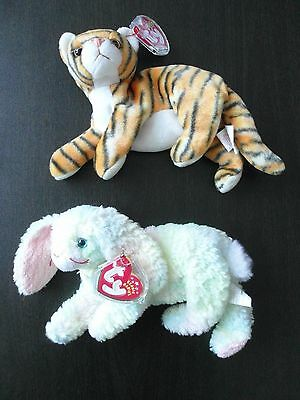 Ty Beanie Babies: Cottonball the Bunny (2001) and India the Tiger (2000)