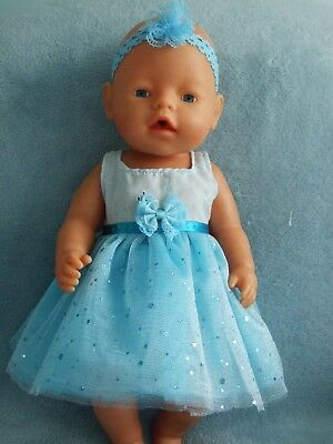 "BABY BORN 17"" dolls clothes / DRESS~HEADBAND~BLOOMERS / blue tulle"