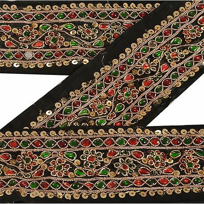 Vintage Sari Border Antique Hand Beaded 2 YD Trim Sewing Black Kundan Stone Lace