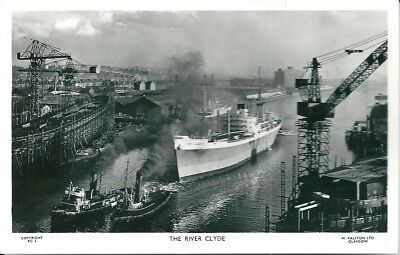 The River Clyde. Rp. Postcard, Ship, Tugboats, Cranes.