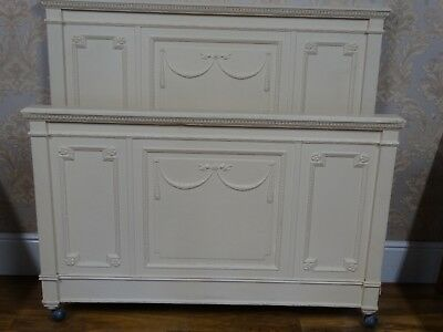 Antique Maple & Co painted double bed frame, bedstead