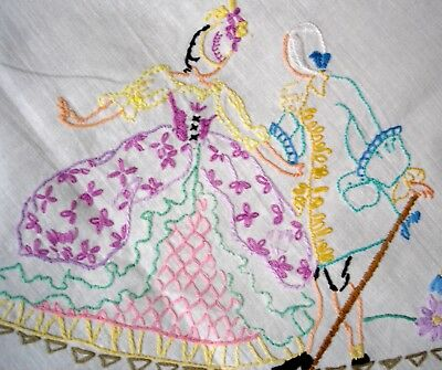 Vintage Hand Embroidered Crinoline Lady & Gentleman In A Garden Linen Tablecloth