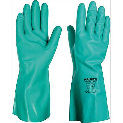 """12 Pa - Guanti Lavoro Nitrile Verde """"food Contact"""" 10"""" Maurer - Cf. Cavaliere"""