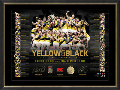 2017 Premiers Richmond Tigers Official AFL Dual Signed Lithograph Framed MARTIN