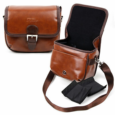 Small Brown PU Leather Bag for Polaroid IE826 18MP Compact Digital Camera