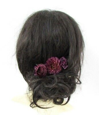 Plum Dark Purple Rose Flower Hair Comb Bridesmaid Wedding Fascinator Boho 5323