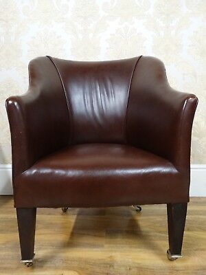Super English Nut Brown Leather Antique Edwardian Parlour Armchair Chair