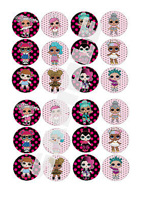 LOL DOLLS SURPRISE Edible Fairy Cup Cake Decoration Toppers Rice Paper x 24