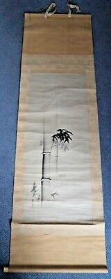 180 CM! ANTIQUE JAPANESE MEIJI c1900 BAMBOO SCROLL PAINTING - SIGNED