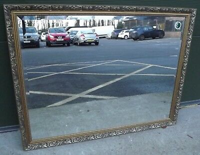 """LOVELY LARGE GILT-FRAMED BEVEL-EDGED WALL MIRROR IN THE ANTIQUE STYLE 44"""" x 34"""""""