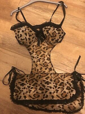 Used Ann Summers Leopard Apron Size 14
