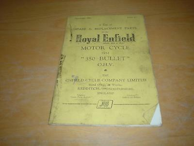 ROYAL ENFIELD 350cc BULLET OHV SPARE PARTS CATALOGUE LIST Owners Handbook Manual