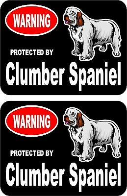 2 protected by Clumber Spaniel dog car home window vinyl decals stickers #C
