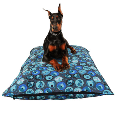 Dog Pet Bed Pillow Replacement Cover Washable Removable Zipped Large Cover Blue