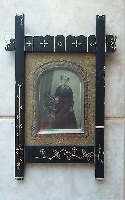 Antique Victorian Black Wood 1870s Portrait Photo Frame ~ PA Estate Named Prim