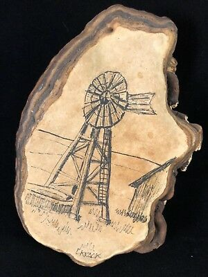 Original Art - Windmill Scene on Natural Tree Fungus Signed By Artist