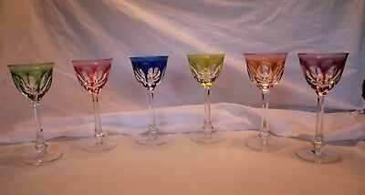 Moser Lady Hamilton Cut Crystal Wine Glass Multicolor Set Of Six Glasses