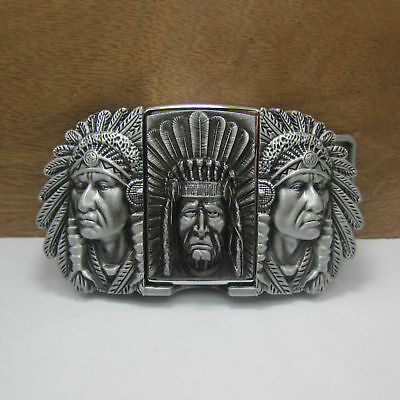Mens Removable Indian Pattern Belt Buckle With Refillable Lighter Zinc Alloy