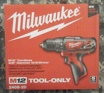 "Milwaukee 2408-20 M12 Cordless 3/8"" Hammer Drill/ Driver Tool Only"