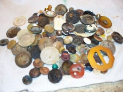 Antique Vintage Buttons Collection Glass Plastic Buckle Plus Used Old Sewing