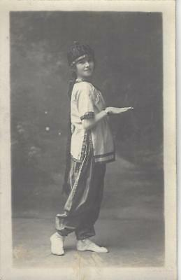 Young Girl In Costume - A Chinese  Dancer Vintage Photo Postcard