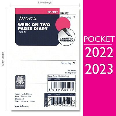 Filofax Pocket (2019-2020) Week On Two Pages Diary Refill Insert 68221