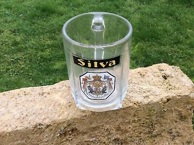 Ancien Verre A Biere Chope Emaillee Silva Champigneulles Collection