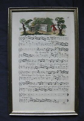 Framed Early 18th Century Sheet of Music - Love for Nymph