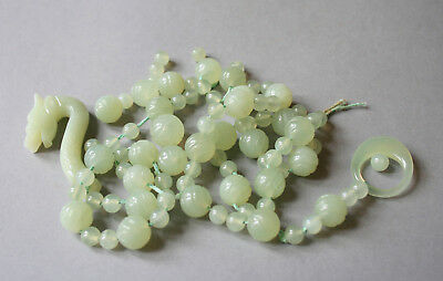 Lovely Vintage Chinese Export Jade/hardstone Dragon Necklace
