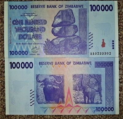 20 X Zimbabwe 100,000 , 2008,unc Rare. Only £1.00 Each. Free Postage.