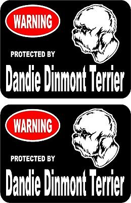2 protected by Dandie Dinmont Terrier dog home window vinyl decals stickers #B