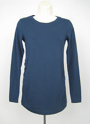 Gap Maternity T Shirt Blouse Top Women Size XS Blue Scoop Neck Long Sleeve