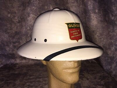 Vintage 1950s Oliver Machinery Tractor Advertising Pith Safari Hat EUC