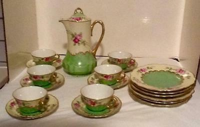 Beautiful Austrian Luncheon Tea/chocolate Set Pot/lid, Luncheon Plates, Cups/sau