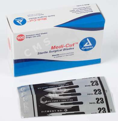 MEDI-CUT #23 Surgical Blades Sterile Stainless Steel Scalpels -100- Dynarex 4143