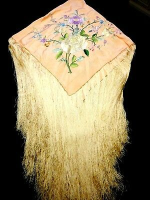 THE BEST = 1900 ANTIQUE Old CHINESE Hand Embroidered SILK Tablecloth PIANO SHAWL