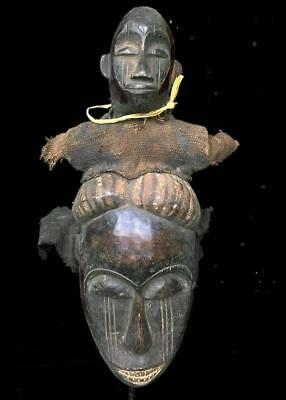Old Tribal Bete 2 Headed Fetish Mask ---- Coted'Ivoire