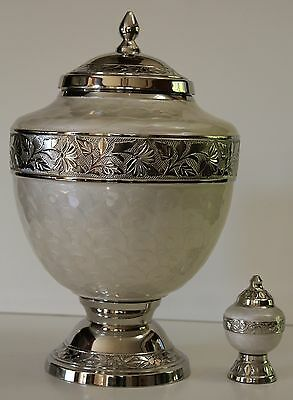 Majestic Pearl White Funeral Cremation Urn,adult Memorial Ash Urns-Free Keepsake