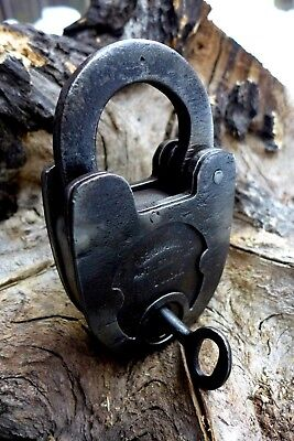 Antique Vintage Padlock with One Working Key, Collector, Hobby Heavy Old Russia